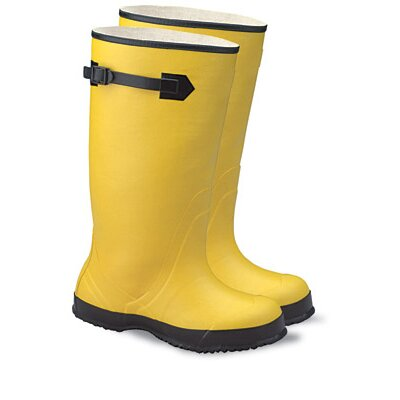 "Radnor 12 Yellow 17"" Rubber Plain Toe Over-The-Shoe-Boot With Fabric Inner Lining, Side Strap And Black Ribbed Outsole"