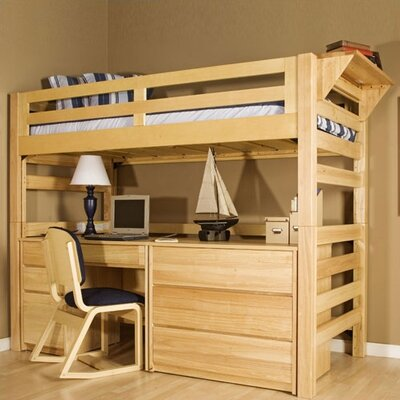 Graduate Series Extra Twin over Twin Long Bunk Bed with Built-In Ladder