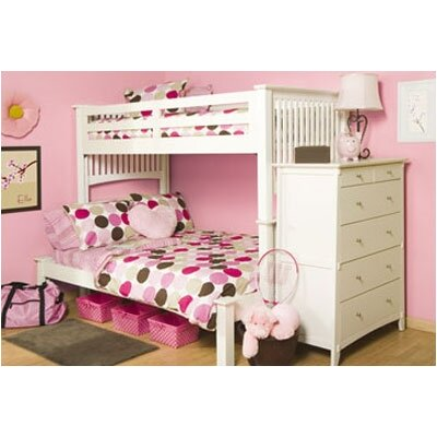 University Loft Mission White Extra Long Twin over Full Bunk Bed