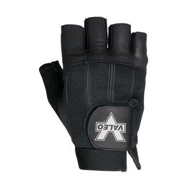 Black Leather Fingerless Pro Material Handling Gloves With Leather Palm And Fingers, Nylon ...