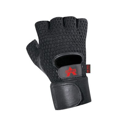 Valeo Inc Black Mesh Fingerless Anti-Vibe Gloves With AV GEL™ Palm, Thumb And Index Finger, Leather And Cotton Mesh Back, Terry Lining And Wrist Wrap Cuff