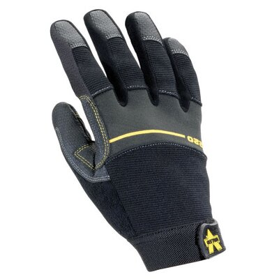 Black Work Pro Medium Duty Full Finger Mechanics Gloves With Leather Palm, Sweat Wipe On ...