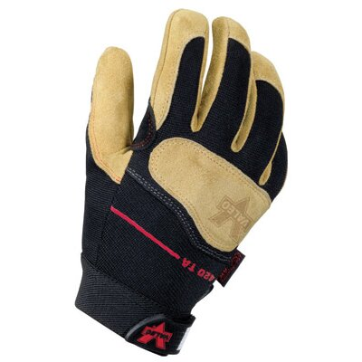 Tan Full Finger Mechanics Split Leather Anti-Vibe Gloves With AV GEL™ Padded Palm, Stetch-Knit ...