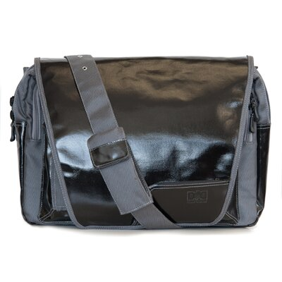Diaper Dude Digi Dude Canvas Laptop Bag in Black Coated / Grey