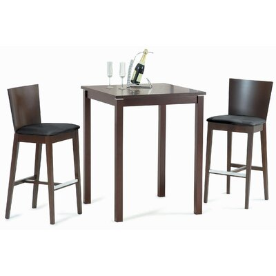 New Spec Inc Cafe-411 Square Bar Table Set in Walnut