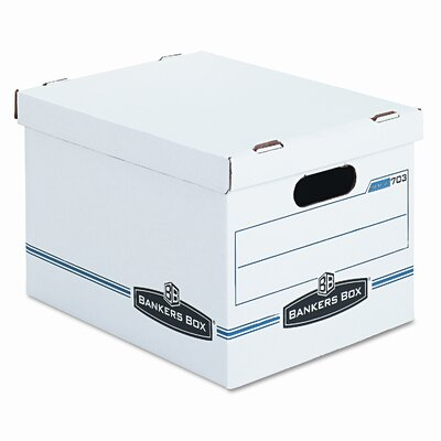 Bankers Box® Stor/File Box w/Handles, Letter/Lgl, 12 x 15 x 10, WE/Blue, 4/Carton