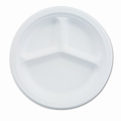 "Chinet Paper Dinnerware, 3-Compartment Plate, 9-1/4"" Diameter, White, 500/CT"