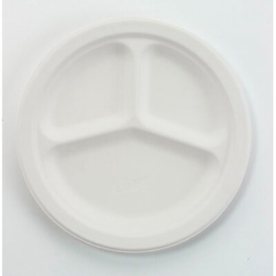 "Chinet 10.5"" Round Classic Paper Plates with 3 Compartments in White"