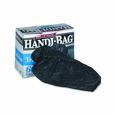 Webster Industries Handi-Bag Super Value Packs, 30 gallon, .7mil, 36 x 29.5, Black, 60/bx