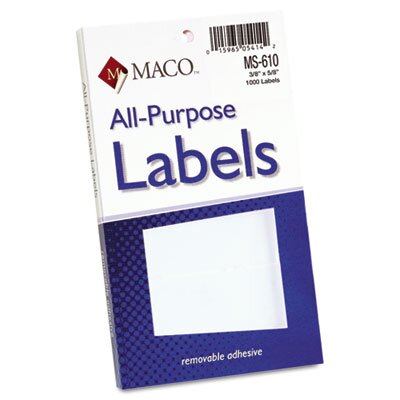 Maco Tag & Label Multipurpose Self-Adhesive Removable Labels, 1000/Pack