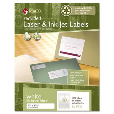 Maco Tag & Label Recycled Laser and Inkjet Labels, 1500/Box