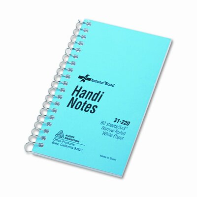 National® Brand Wirebound Memo Book, Narrow Rule, 3 x 5, White, 60 Sheets per Pad
