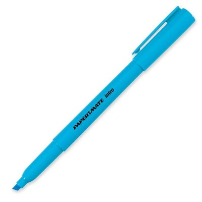 Paper Mate Intro Highlighters, Chisel Tip, Fluorescent Blue
