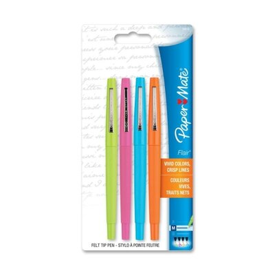 Paper Mate Flair Pen, Point Guard Tip, 4/PK, Assorted