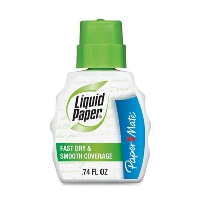 Paper Mate Correction Fluid, w/ Foam Brush, 22ml, White