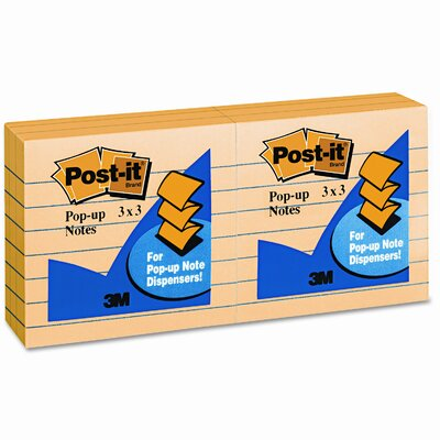 Post-it® Pop-Up Refill Note Pad, Lined, 6 100-Sheet Pads/Pack