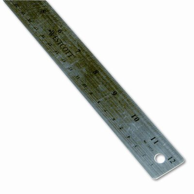 "Westcott Stainless Steel Ruler with Cork Back and Hanging Hole, 12"", Silver"