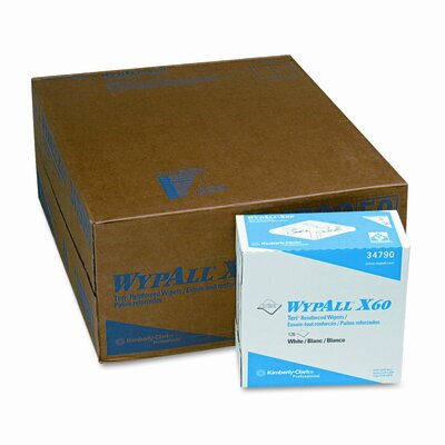 Wypall WYPALL X60 Teri Wipes, Nylon, 9-1/8 x 16-7/8, 126/bx, 10/carton                                                              