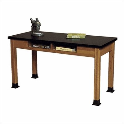 Fleetwood Wood Science Table with Book Storage and Black Epoxy Resin Top