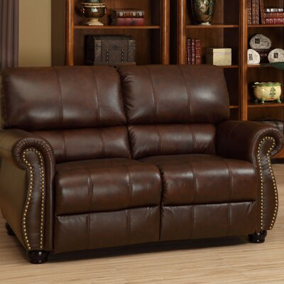 Abbyson Living Houston Italian Leather Loveseat