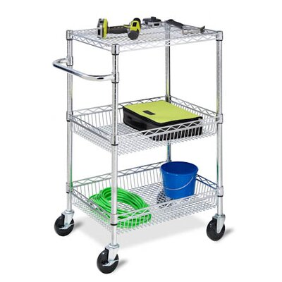 Honey Can Do Three Tier HD Urban Rolling Cart in Chrome