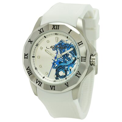 Ed Hardy Men's Roman Watch in White
