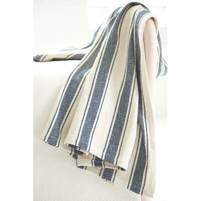 Dash and Albert Rugs Blue Awning Stripe Woven Cotton Throw