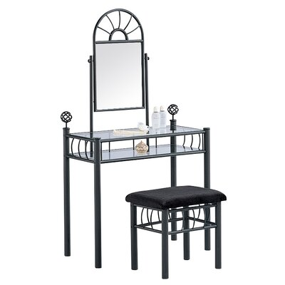 Hazelwood Home Vanity and Upholstered Bench Set in Black