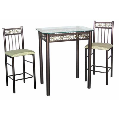 Hazelwood Home Three Piece Bistro Table Set in Bronze
