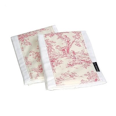 Reese Li Pink Toile Burp Cloth Set