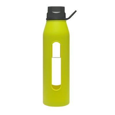 Takeya 22 Oz Classic Glass Water Bottle with Black Lid and Jacket in Green Apple