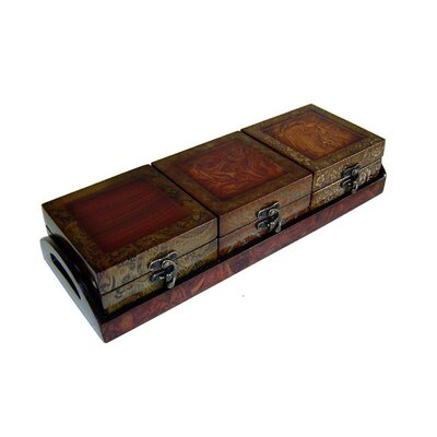 Cheungs Wooden Treasure Chests with Tray in Brown (Set of 3)
