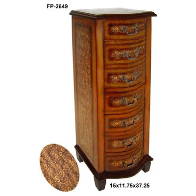 Cheungs Rattan Wooden Cabinet with Drawers and Fleur De Lis Print