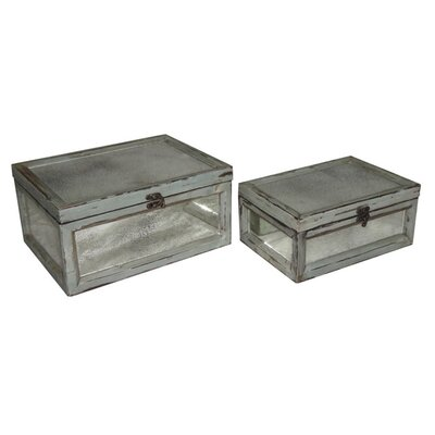 Rectangular Dirty Mirror Keepsake Box (Set of 2)