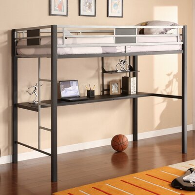 Dorel Home Products Silver Screen Twin Low Loft Bed with Desk and Built-In Ladder