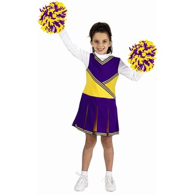 Jr. cheerleader with Briefs, Poms and Hair Band Costume in Purple / Gold
