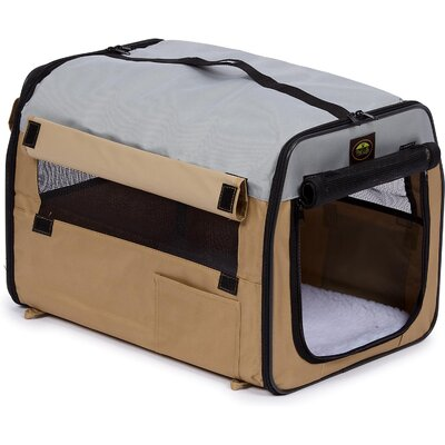 Zippered Easy Carry Pet Carrier in Khaki and Grey