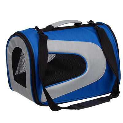 Zippered Sporty Mesh Pet Carrier in Blue and Grey