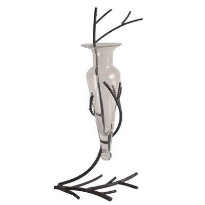 Danya B Amphora Vase with Metal Twig Stand in Clear