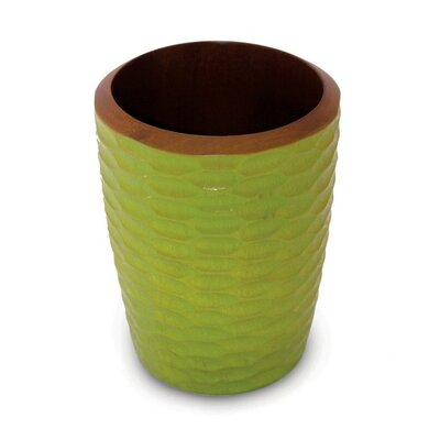 Enrico Casual Dining Utensil Vase in Avocado and Dark Brown Lacquer