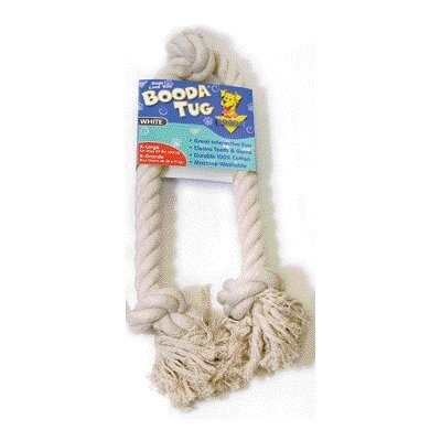 BOODA Pet Products Three Knot Rope Bone Dog Toy in White