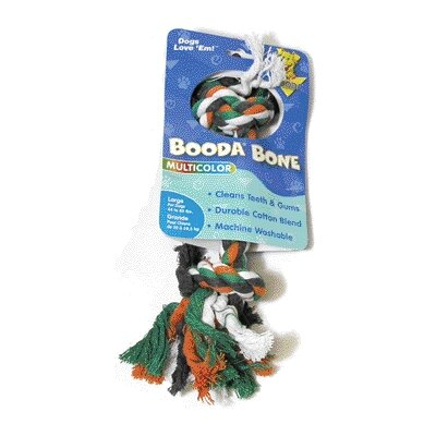 BOODA Pet Products Two Knot Rope Bone Dog Toy in Red, White and Blue