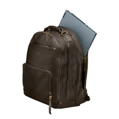 SOLO CASES Vintage Leather Laptop Backpack in Espresso