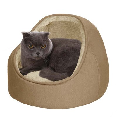 Soft Touch Faux Suede Hooded Snuggler Cat Bed with Cushion in Sand/Camel
