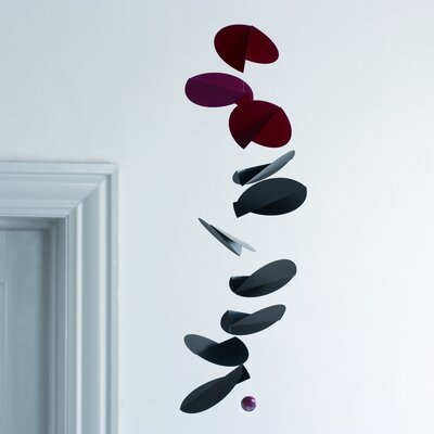 Flensted Mobiles Abstract Turning Leaves Mobile in Black / Red