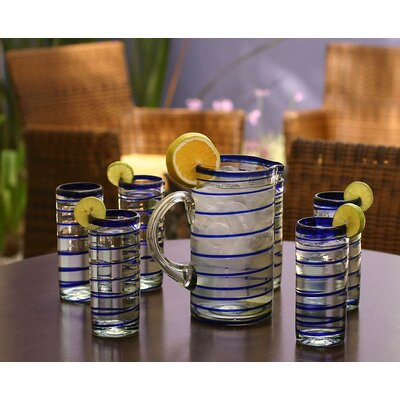 'Cobalt Spiral' Highball Glasses (Set of 6)