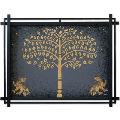 Novica 'Golden Bo Tree with Lions' Wall Art