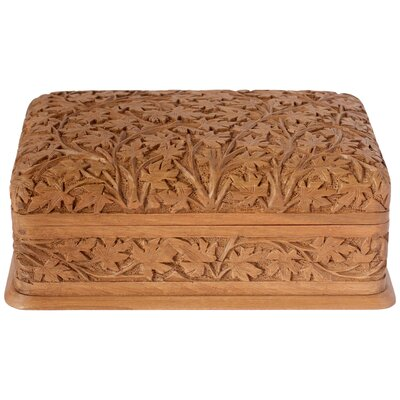 Novica M Ayub Artisan Wild Ivy Walnut Wood Jewelry Box