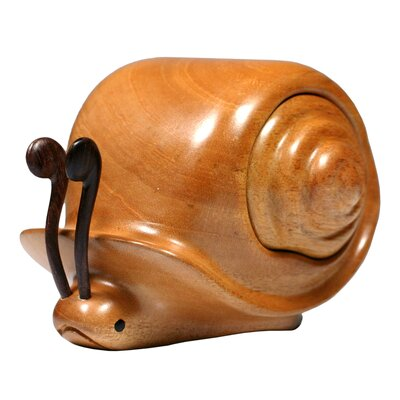 Novica Francisco Mendoza Artisan Snail Secrets Mahogany Wood Decorative Box