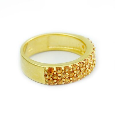 The Aarti Sharma Artisan Maharajah Glam Vermeil Hessonite Band Ring